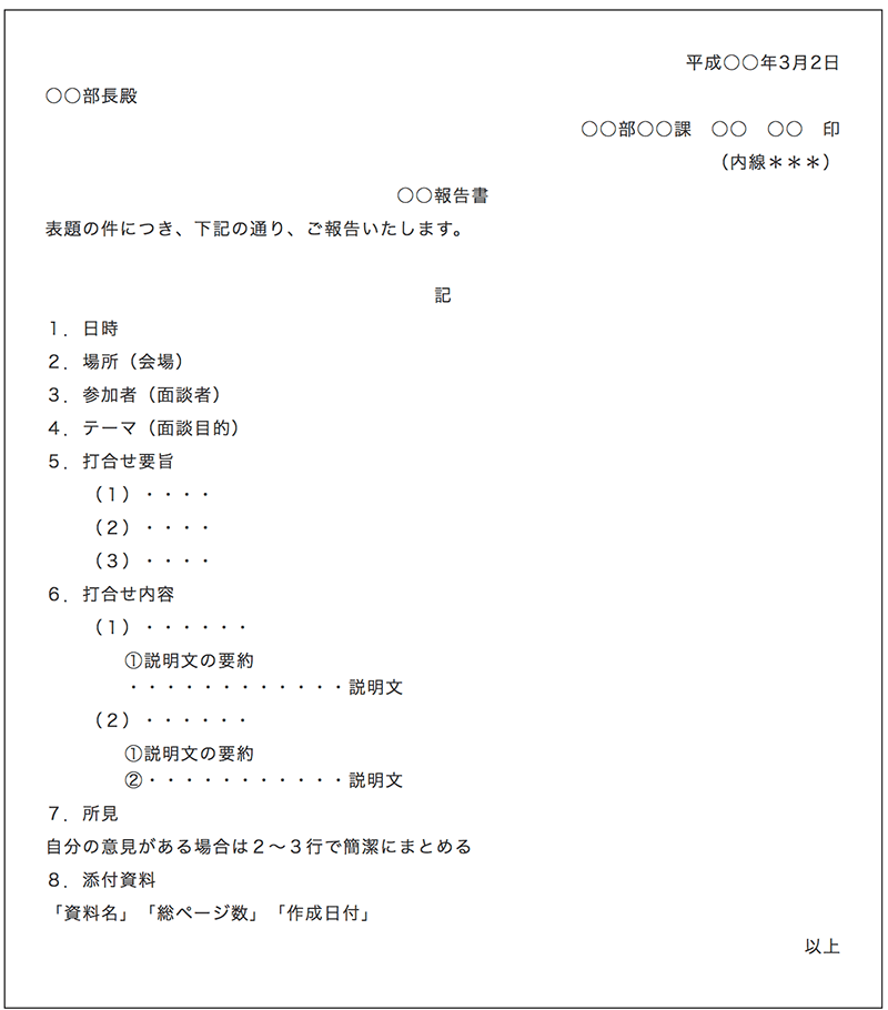 社内文書の文例(報告書)説明画像